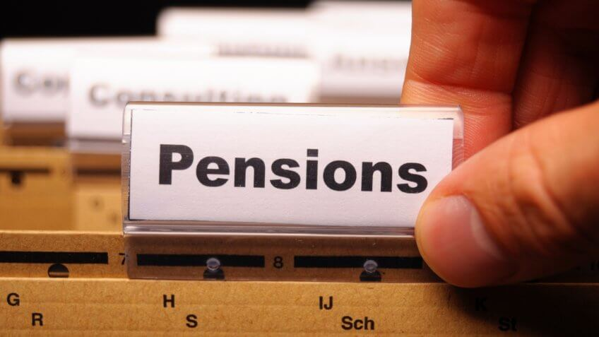 pension pension or retirement concept with word on business office folder index.
