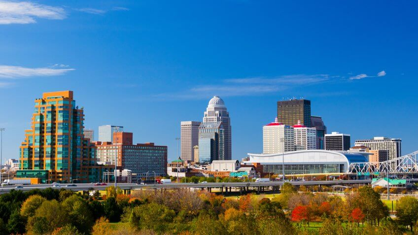 Louisville skyline view