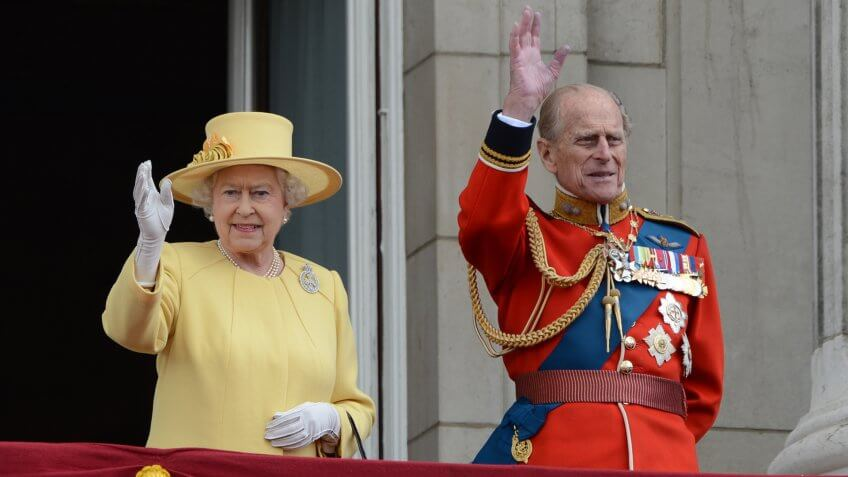 Queen Elizabeth II and Duke of Edinburgh attend the Trooping Of The Colour at Horse Guards Parade, London, UK.