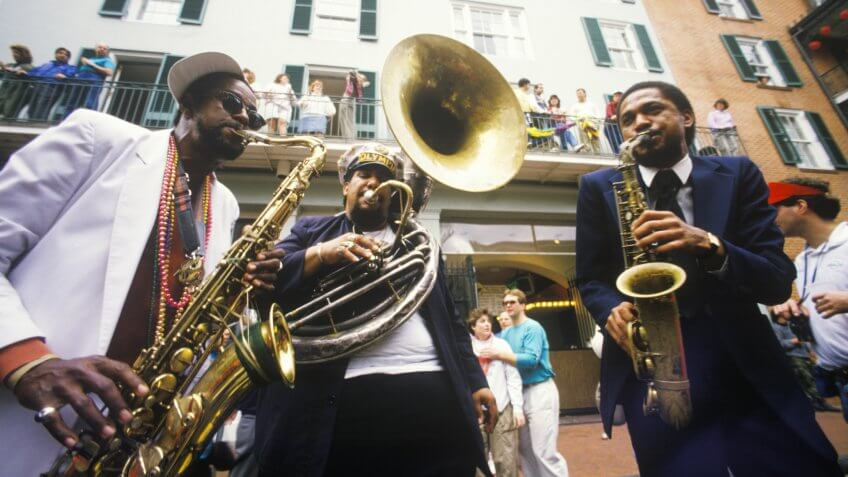 Jazz musicians performing on the French Quarter, New Orleans at Mardis Gras, LA.