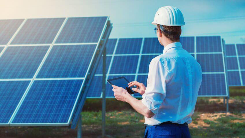 Renewable energy, engineer, solar panels