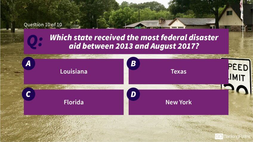 Which state received the most federal disaster aid between 2013 and August 2017?