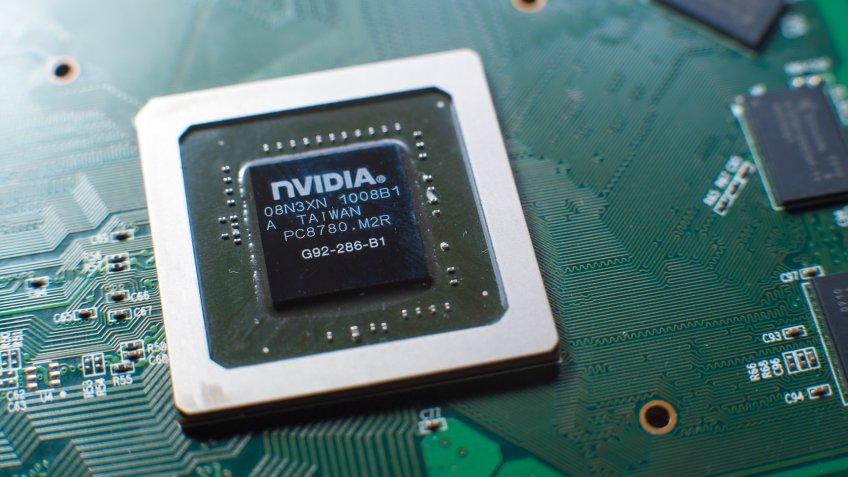 Minsk, 2018. Nvidia graphics chip close up