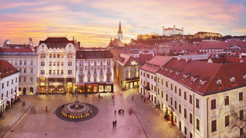 Panoramic view of Bratislava with sunset.