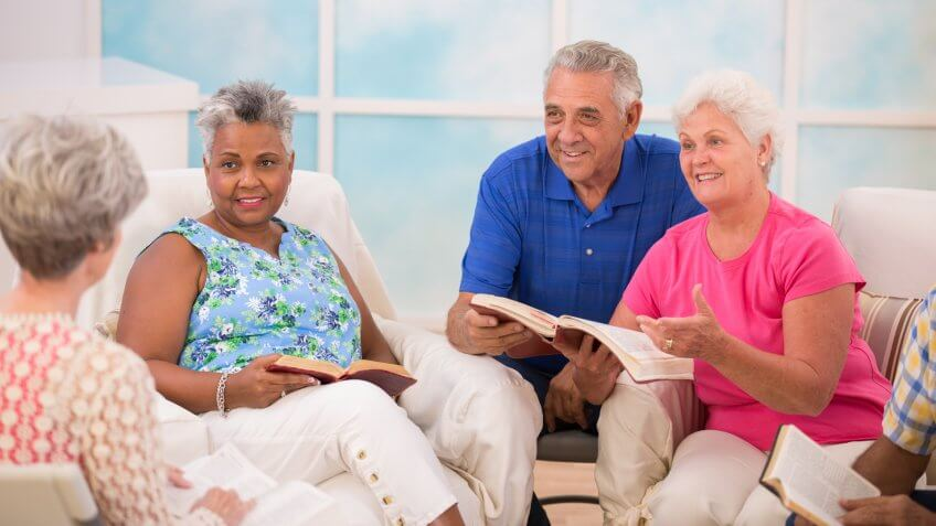 Group of senior adults during a bible study.
