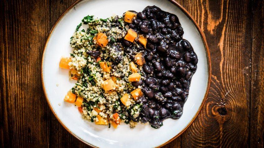 Food, black beans, quinoa