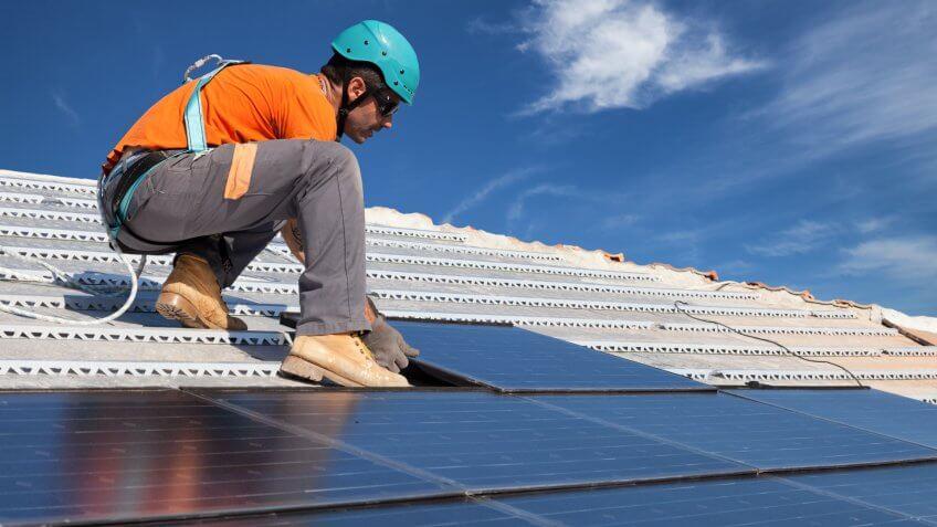 construction, installer, photovoltaic, solar panels