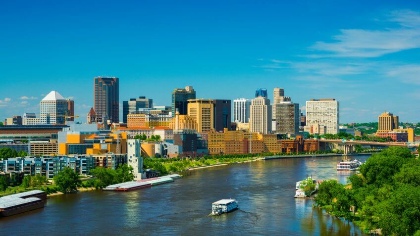 Saint Paul downtown skyline with the Mississippi River in the foreground.