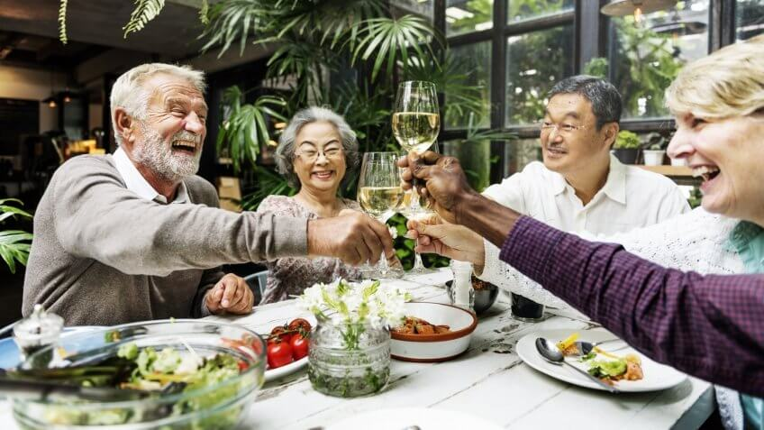 Group of Senior Retirement Meet up Happiness Concept.