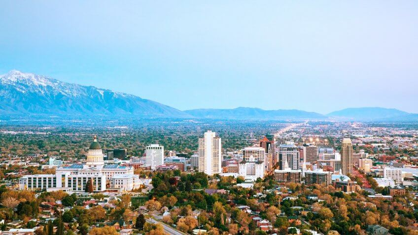Salt Lake City panoramic overview in the morning.