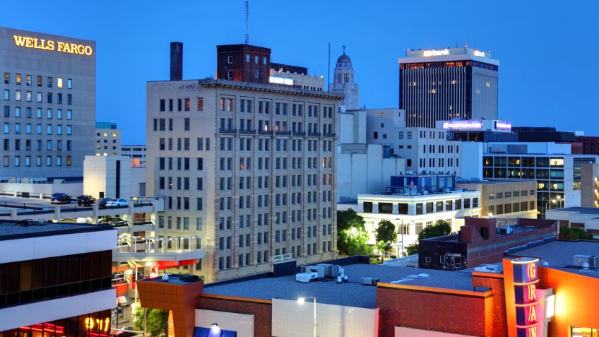 """""""Lincoln, Nebraska, USA - May 18, 2012: Downtown skyline in the financial district of the capital and the second-most populous city of the US state of Nebraska""""."""