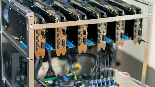 Close shot of a rig for crypto currency mining.