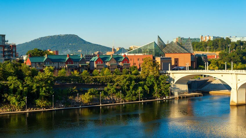 Downtown Chattanooga, Tennessee, with Lookout Mountain rising in the distance.