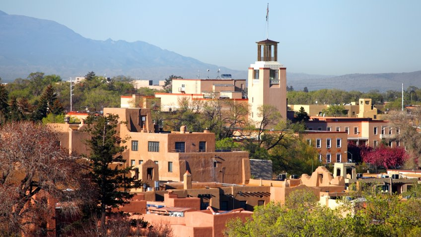 Downtown Santa Fe, New Mexico at dusk.