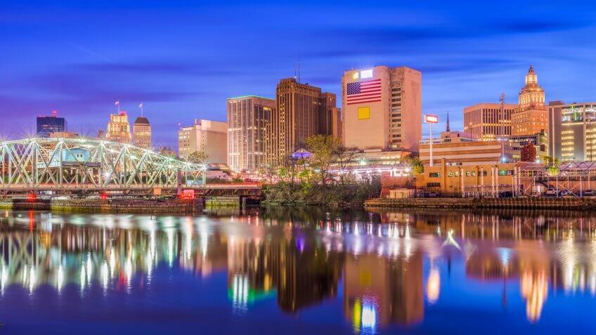 Newark, New Jersey, USA skyline on the Passaic River.