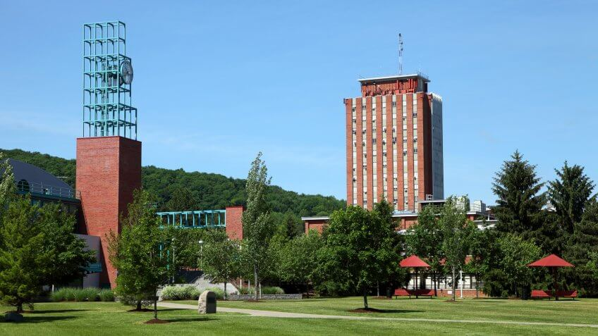 Binghamton, New York, USA - June 7, 2015: Daytime view of the University Union on the campus of The State University of New York at Binghamton.