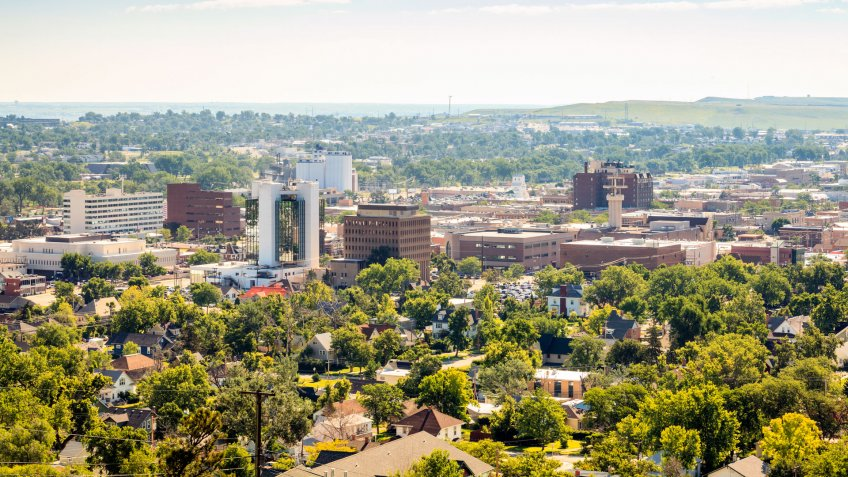 Panorama of Rapid City, South Dakota, USA.