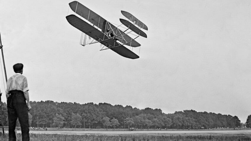 Wright's airplane in Army trial flights at Fort Meyer Virginia in July 1909.
