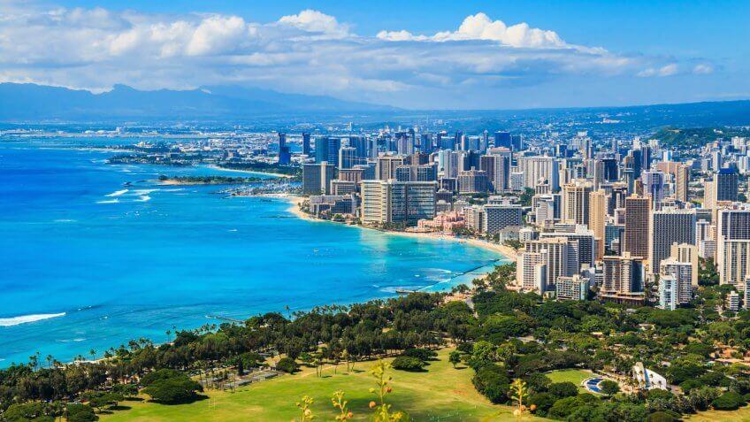 Skyline of Honolulu, Hawaii and the surrounding area including the hotels and buildings on Waikiki Beach.