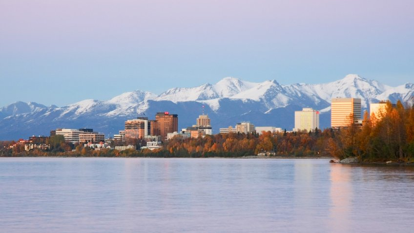 Evening view of Anchorage Alaska and Cook Inlet in the Fall.