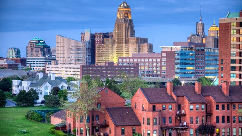Downtown Buffalo skyline along the historic waterfront district.