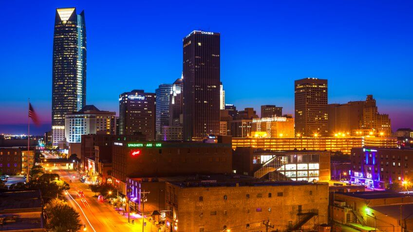 Downtown Oklahoma City at night.