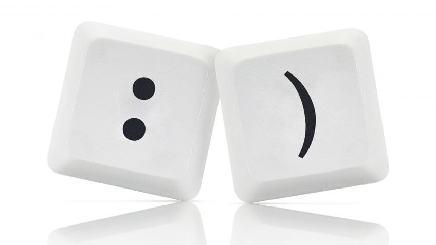 Computer Keys with social media smile symbol.