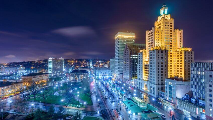 Providence, Rhode Island, USA cityscape at night.