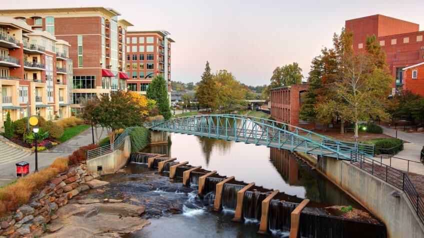 Falls Park and the Reedy River located in downtown Greenville's Historic West End.