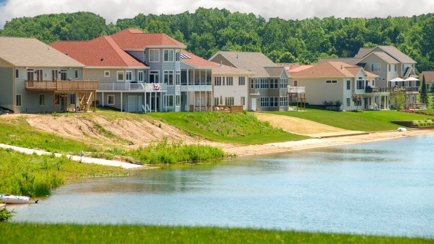 Luxury Lakeside Homes in Summer - beautiful vinyl siding vacation homes on a lake in Michigan, USA.