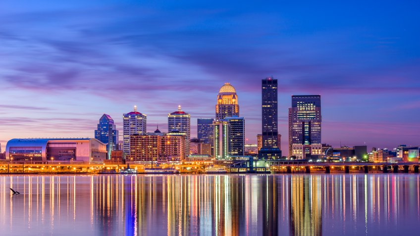 Louisville Kentucky dusk skyline