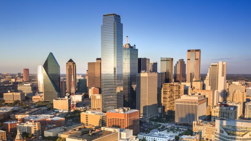 Dallas downtown panoramic cityscape in Texas USA.