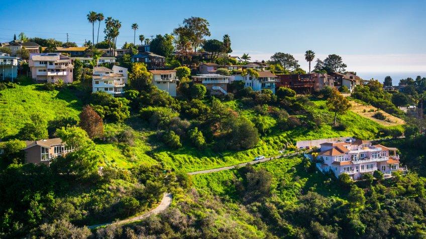 View of houses of a hillside in Laguna Beach, California.