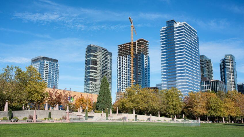 Bellevue, Washington United States - October 12, 2016: Bellevue downtown at the beautiful Wednesday afternoon.