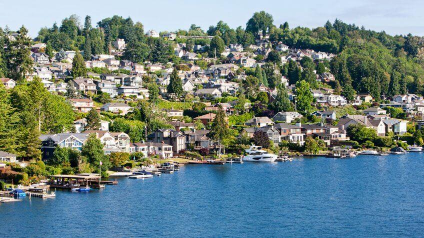 View from the I-90 Bridge of Mount Baker Neighborhood on Lake Washington in Seattle.