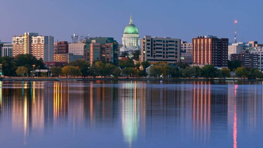 Panoramic image of Madison (Wisconsin) at twilight.