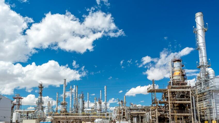 Wyoming Oil Refinery with a blue sky.