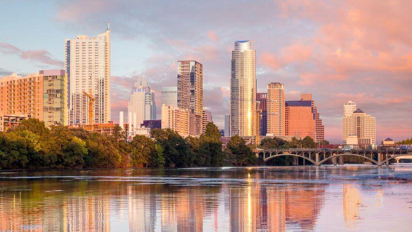 Austin Texas skyline at sunset