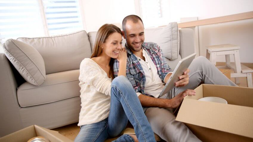 couple in a new apartment