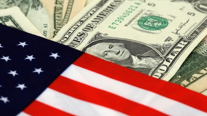 The US flag on United States dollar bills.