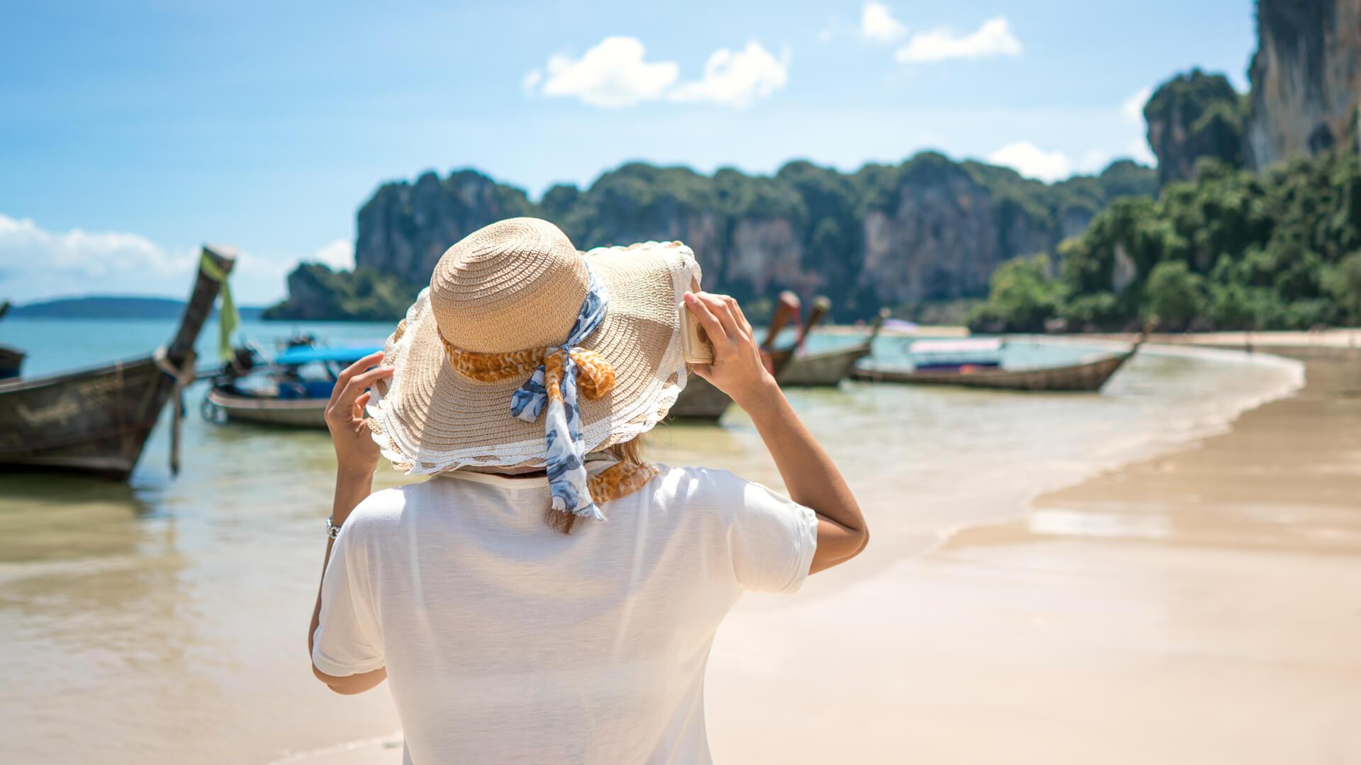 female traveler admiring a marine view.