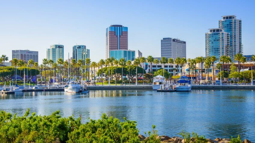 Long Beach California ShoreLine Aquatic Park, waterfront and skyline.
