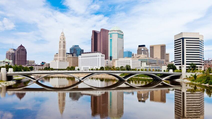 Downtown Columbus, Ohio On A Sunny Summer Day With Reflection In The River.