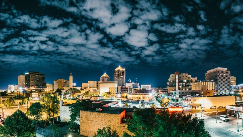 Panoramic image of Albuquerque Skyline at Night.