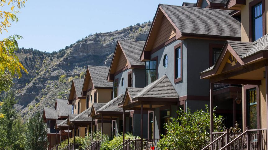 Image of the front porches on a row of condominiums in historic downtown Durango, Colorado.