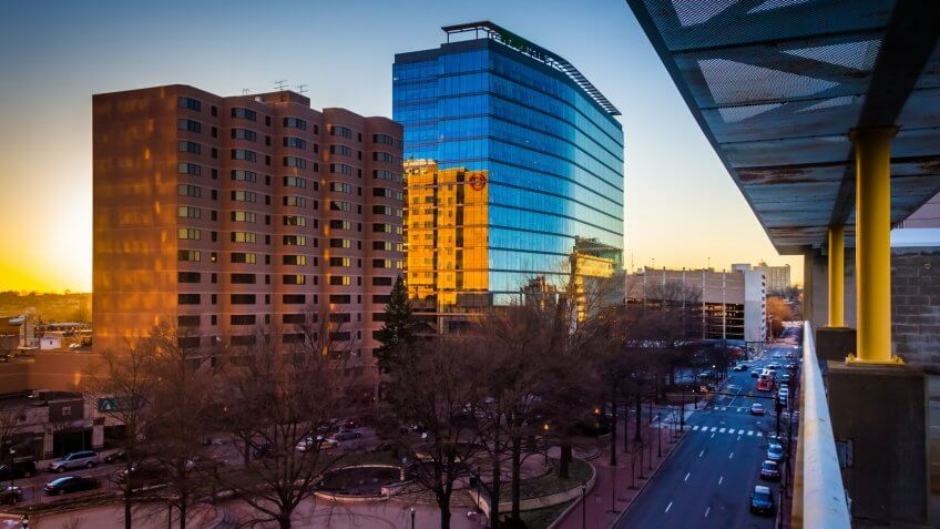 View of buildings along 11th Street at sunset in downtown Wilmington, Delaware, from the City Center Parking Garage.