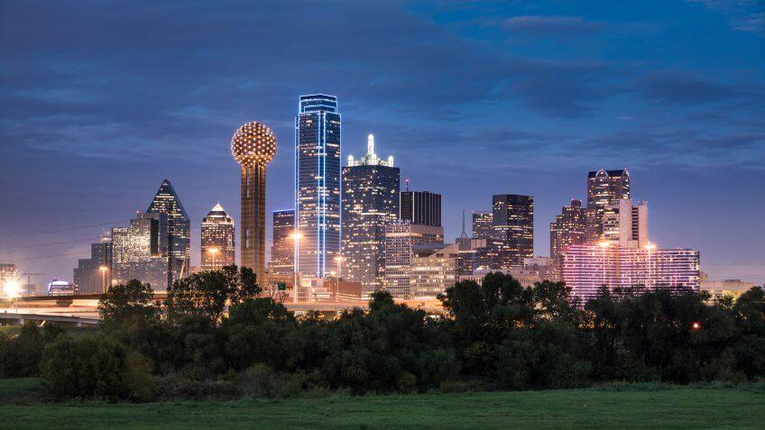 Dallas downtown cityscape at night in Texas USA.