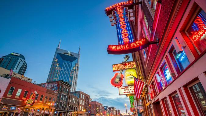 2016 in Nashville, NASHVILLE - NOV 11: Neon signs on Lower Broadway Area on Novembe, Tennessee, USA
