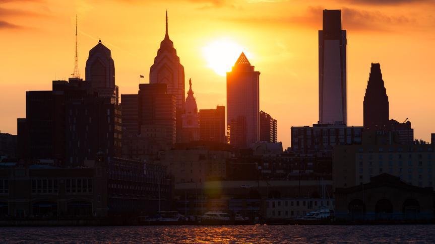 Cityscape of Philadelphia at sunset.