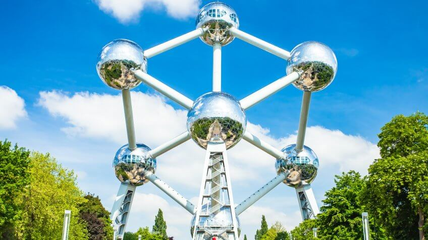 Brussels, Belgium - May 16, 2014: The Atomium is a building in Brussels originally constructed for Expo 58, the 1958 Brussels World's Fair.